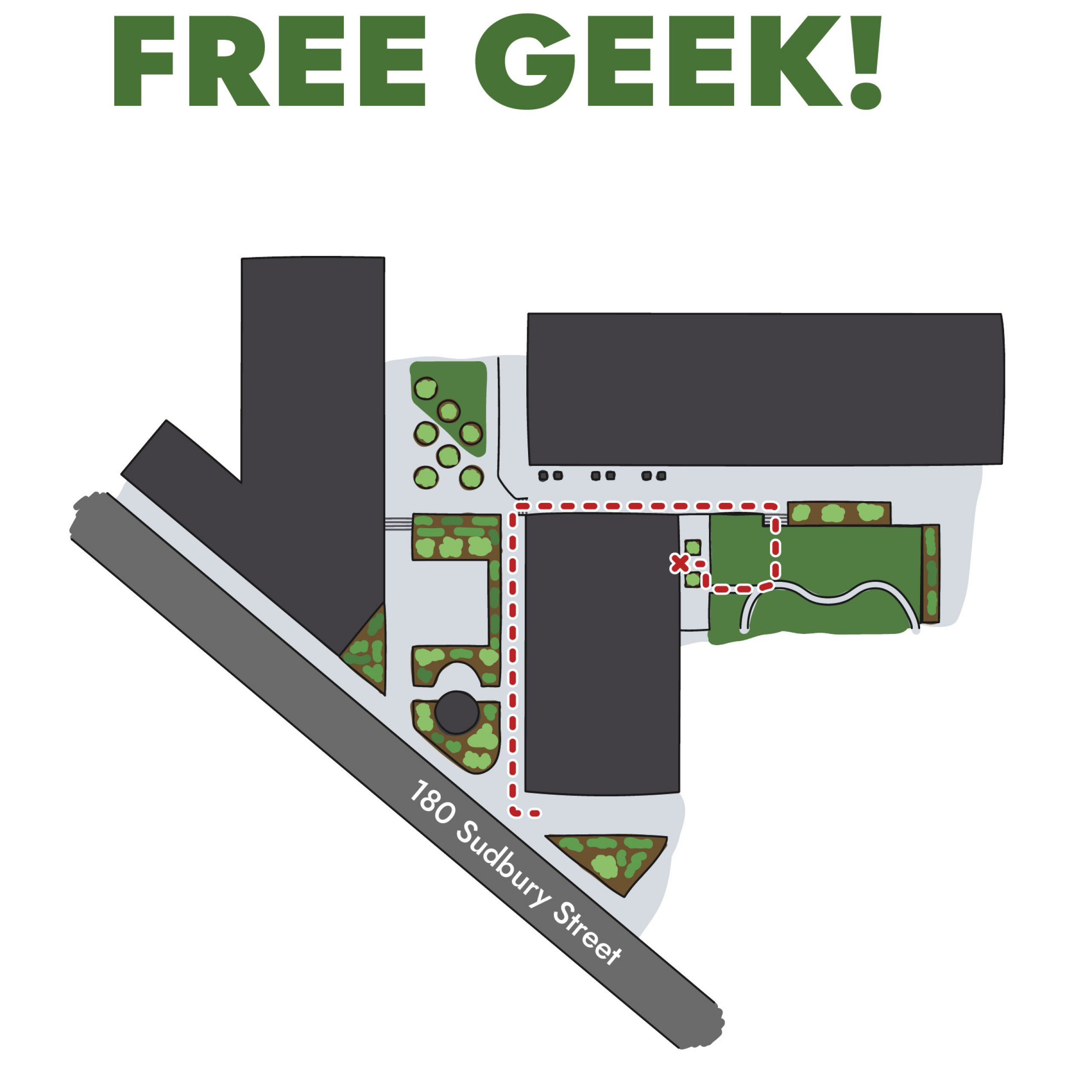 Map to Free Geek Toronto's direct entrance